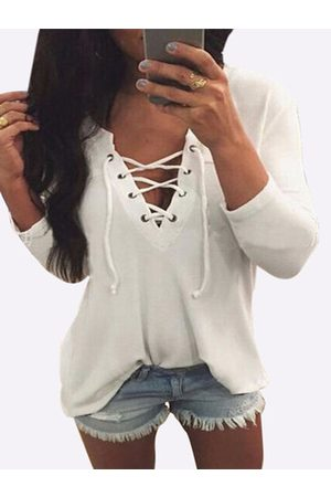 YOINS V Neck Lace Up Front Loose T-shirt in
