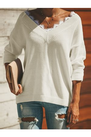 YOINS Patch Lace V-neck Long sleeves Knit Top