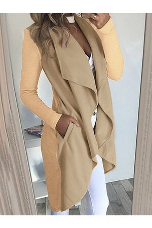 YOINS Pockets Lapel Collar Open Front Trench Coat