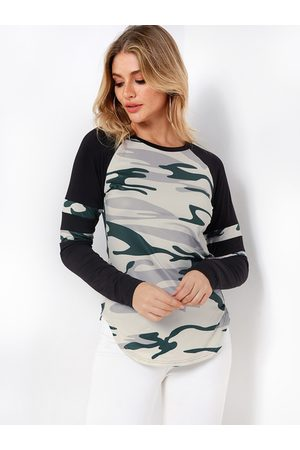 YOINS Camouflage Color Block Round Neck Long Sleeves Curve Hem T-shirts