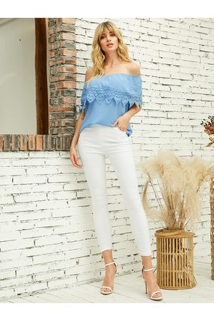 YOINS Blue Lace Details Off The Shoulder Short Sleeves Blouse
