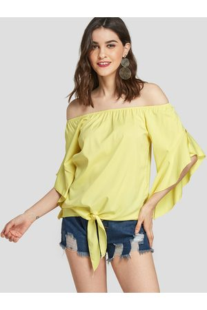 YOINS Off The Shoulder Ruffle Trim Of Sleeves Blouse