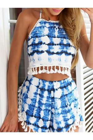 YOINS Fantasy Colour Pattern Self-tie Cropped Top & Sides Slit Co-ord with Tassels Trim