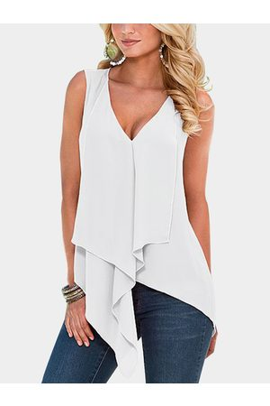 YOINS Tiered Design V-neck Sleeveless Tank Top