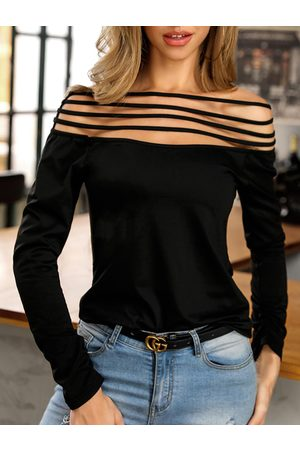 YOINS Black Cut Out Off The Shoulder Long Sleeves Tee