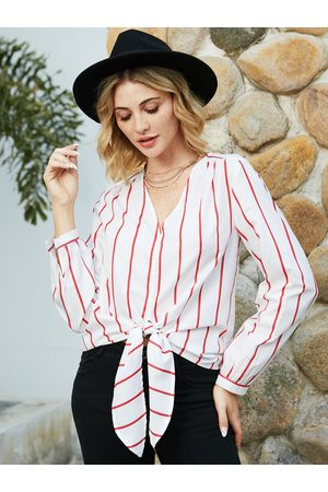 YOINS White Striped V-neck Long Sleeves Blouse