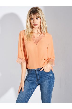 YOINS Yellow Lace Details Patchwork V-neck Short Sleeves Blouse