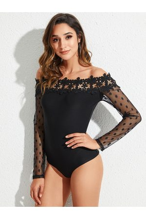 YOINS Polka dot Lace Mesh Patchwork Off The Shoulder Bodysuit