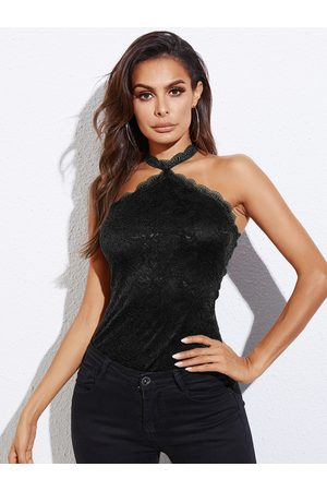 YOINS Backless Design Halter Sleeveless Lace Camis