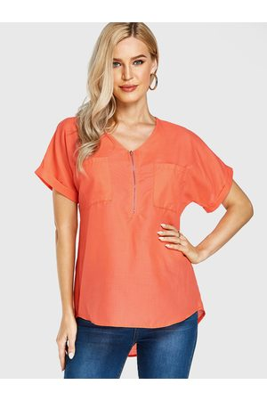 YOINS Women Short Sleeve - Zip Front V-neck Short Sleeves Blouse