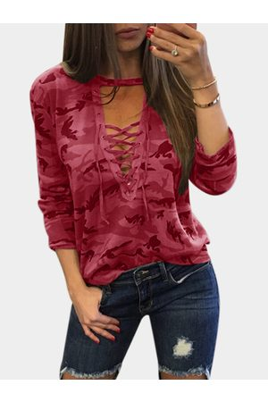 YOINS Sexy Camouflage Pattern V-neck Lace-up Front Top