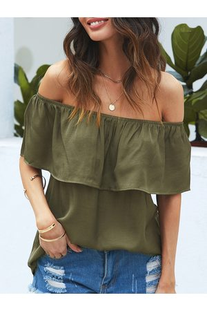 YOINS Army Green Off The Shoulder Short Sleeves Blouse