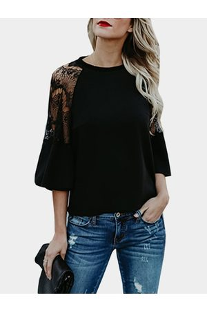 YOINS Lace Insert Crew Neck Flared Sleeves Blouses