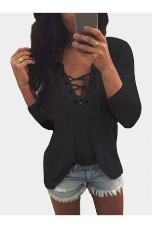 YOINS Women Long Sleeve - V Neck Lace Up Front Loose T-shirt in
