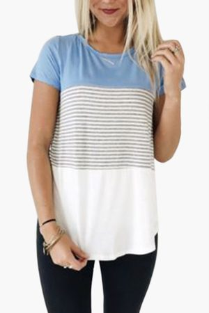 YOINS Light Blue Stitching Stripe Pattern T-shirt with Contrast Color