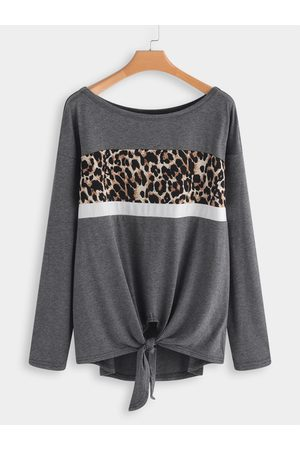 YOINS Leopard knotted Fashion T-shirt