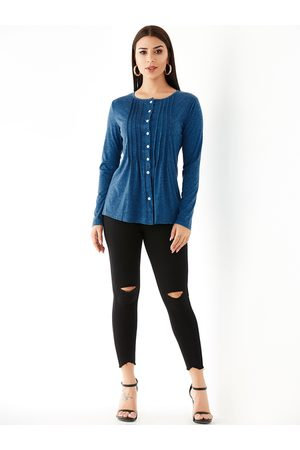 YOINS Pleated Design Pleated Long Sleeves Knit Top