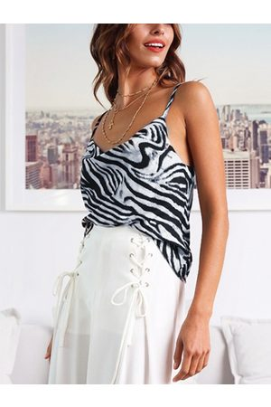 YOINS White Zebra Stripe Drape Sagging Satin Cami