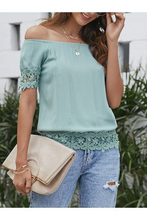 YOINS Lace Trim Off The Shoulder Short Sleeves Top