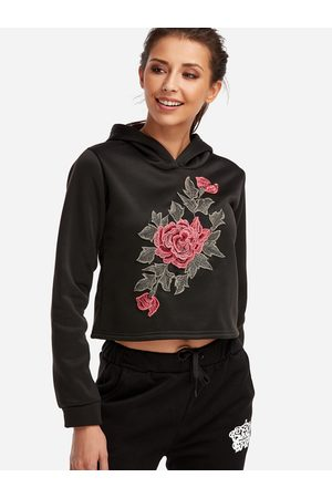 YOINS Embroidered Long Sleeves Thick Crop Hoodie