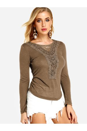 YOINS Coffee Lace Details Plain Round Neck Long Sleeves T-shirts