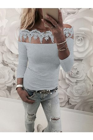 YOINS Lace Insert Off Shoulder Long Sleeves T-shirt