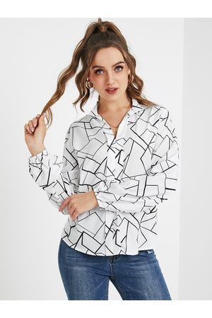 YOINS White Button Design Graphic Classic Collar Long Sleeves Blouse