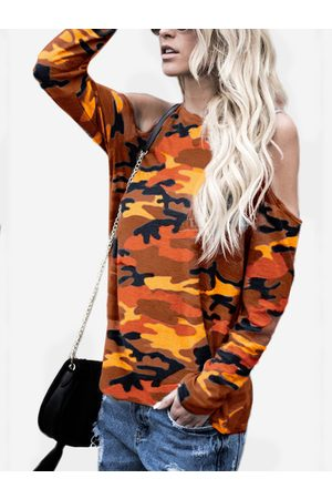 YOINS Red Camouflage Round Neck Cold Shoulder Long Sleeves T-shirt