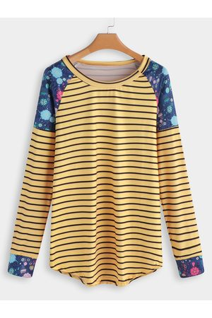 YOINS Stripe Floral Fashion T Shirt