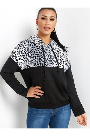 YOINS Leopard Pouch Pocket Long Sleeves Hoodie