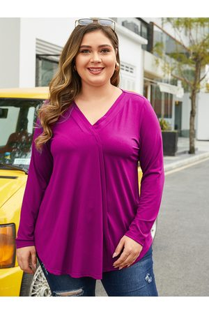 YOINS Plus Size Purple V-neck Long Sleeves Blouse