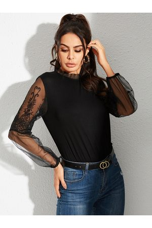 YOINS Black Lace Details Patchwork Crew Neck Long Sleeves Tee