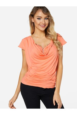 YOINS Drape Sagging Short Sleeves T-shirt With Bead