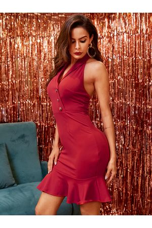 YOINS Burgundy Front Button Backless Design With Ruffle Trim Halter Dress