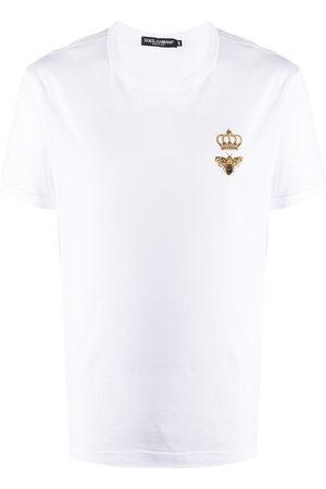 Dolce & Gabbana Men Short Sleeve - Bee crown embroidered T-shirt