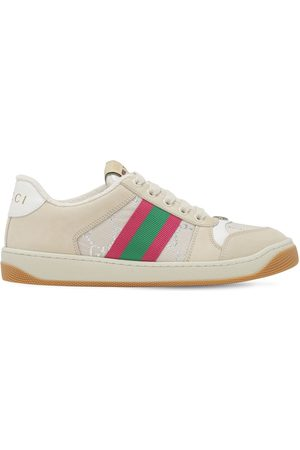 Gucci 10mm Screener Leather & Jacquard Sneaker