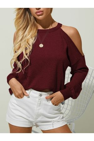 YOINS Casual Cut Out Cold Shoulder Long sleeves Tee