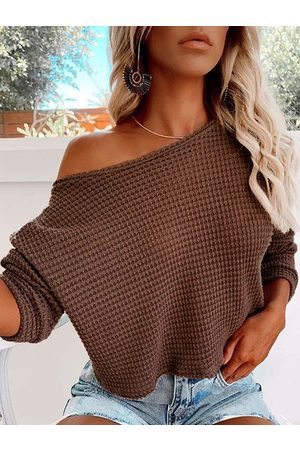 YOINS Casual One Shoulder Long Sleeves Knit Top
