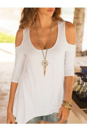YOINS Casual Cut Out Cold Shoulder Bell sleeves Tee