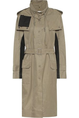 Low Classic Women Trench Coats - Hooded cotton-blend trench coat