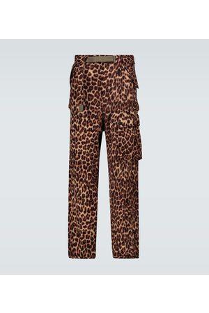 SACAI Leopard Shrivel cargo wool pants