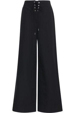 DION LEE Women Wide Leg Trousers - Cotton & Nylon Wide Leg Pants