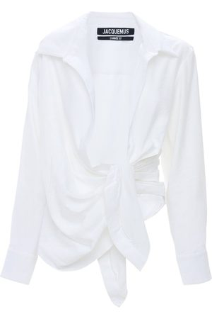 Jacquemus Draped Viscose Blend Shirt W/knot Detail