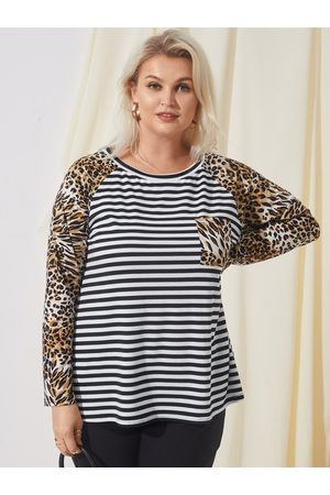 YOINS Plus Size Round Neck Striped Patchwork Leopard Long Sleeves Tee