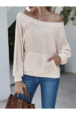 YOINS Pocket Design Round Neck Lantern Sleeves Knit Top
