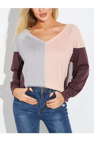 YOINS Multicolor Patchwork V-neck Long Sleeves Tee