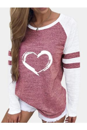 YOINS Pink Crew neck Graphic Patch Long sleeves T-shirt