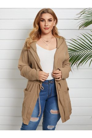 YOINS Plus Size Side Pockets Hooded Design Long Sleeves Cardigan