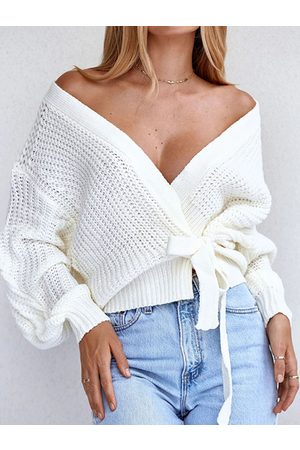 YOINS White Tie-up Design Deep V Neck Long Sleeves Sweater