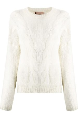 Twin-Set Semi-sheer cable knit jumper